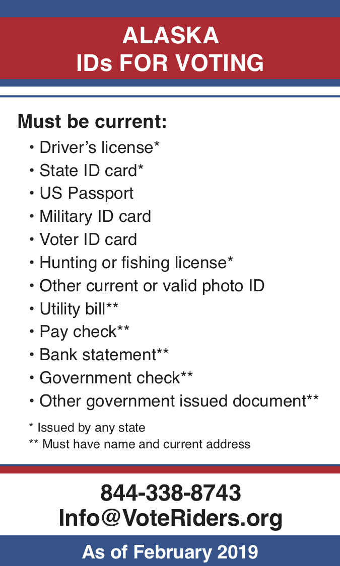 AK Voter ID Info wallet card