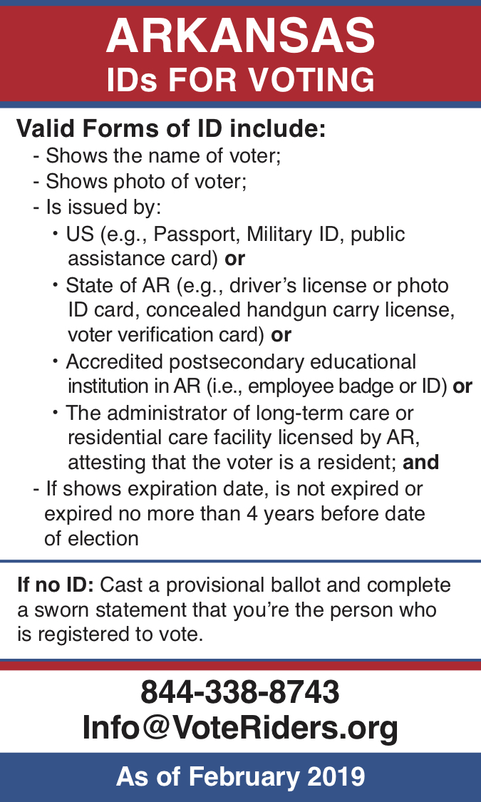 AR Voter ID Info wallet card