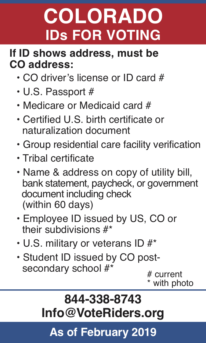 CO Voter ID Info wallet card