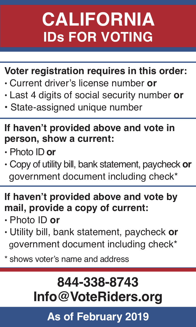 CA Voter ID Info wallet card