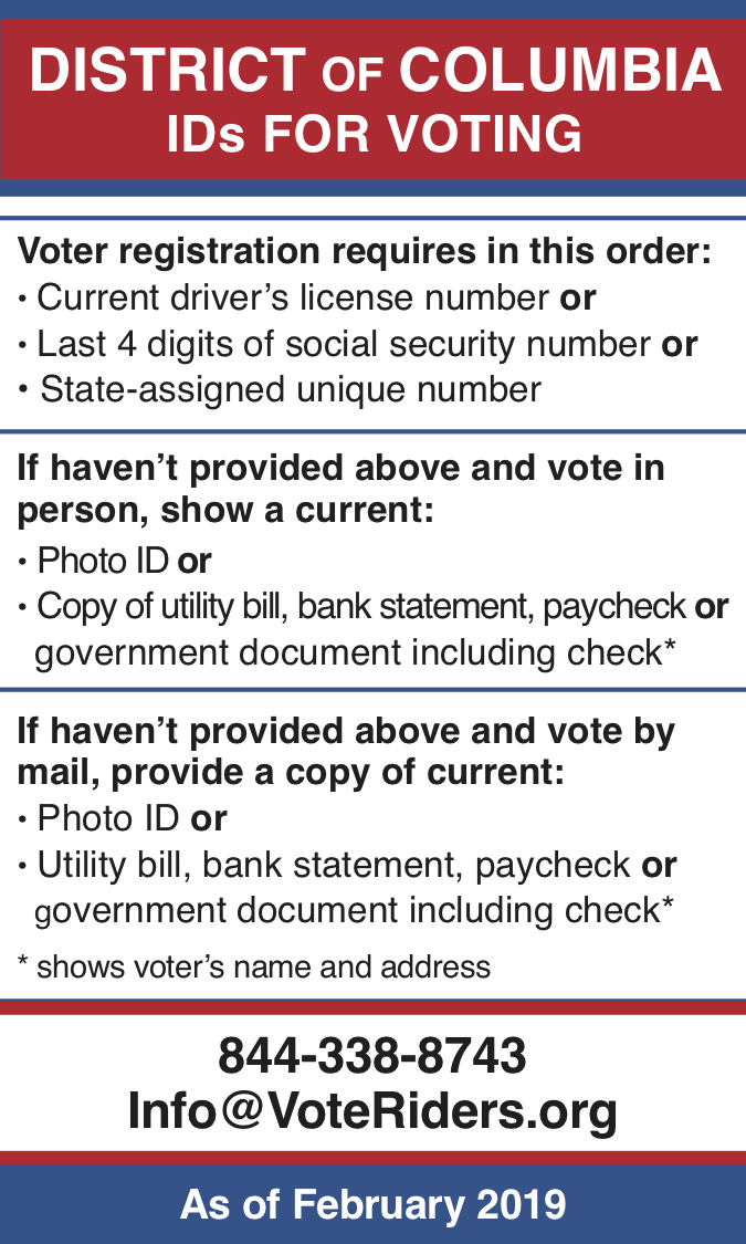 DC Voter ID Info wallet card