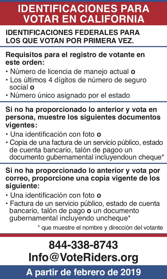 ID para votar en California
