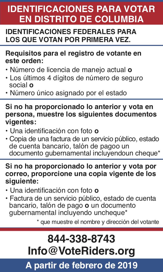 ID para votar en DC