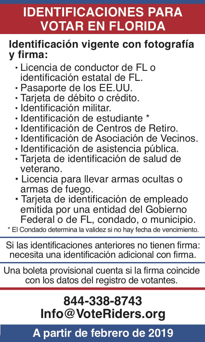 ID para votar en Florida