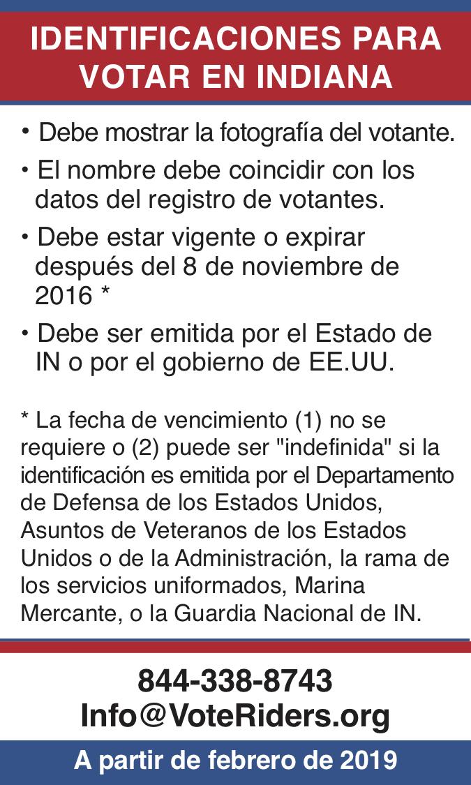 ID para votar en Inidana