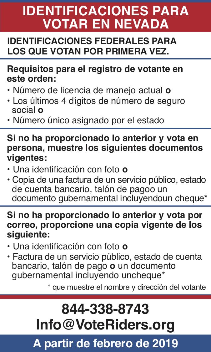 ID para votar en Nevada