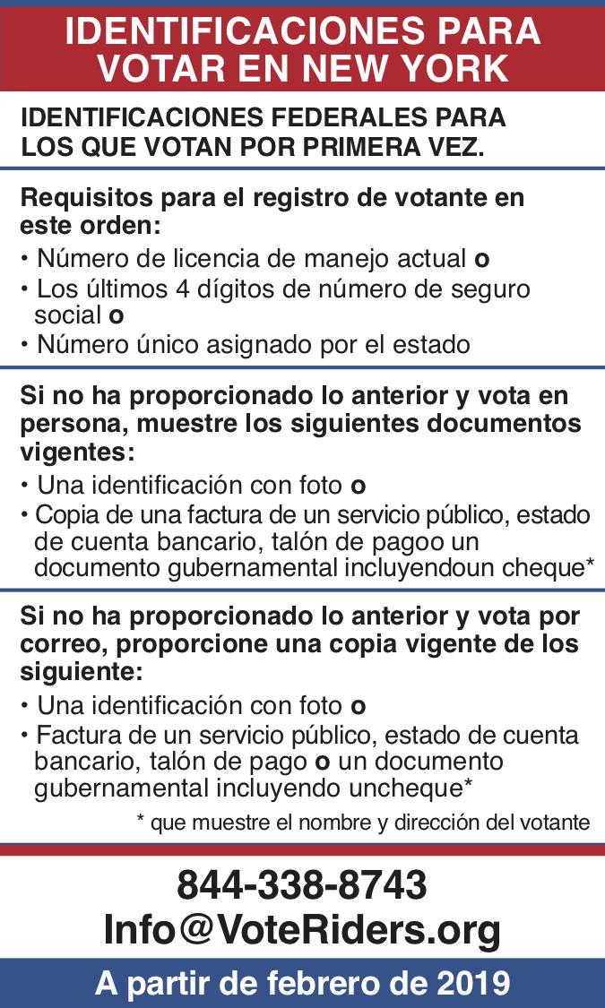 ID para votar en Nueva York