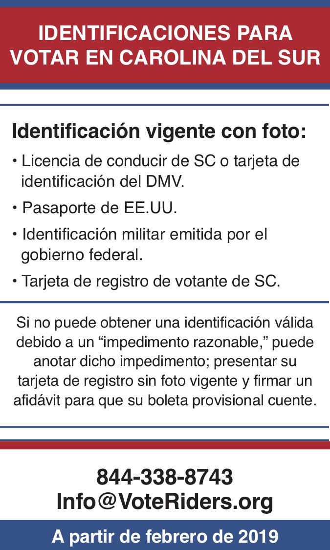 ID para votar en Carolina del Sur