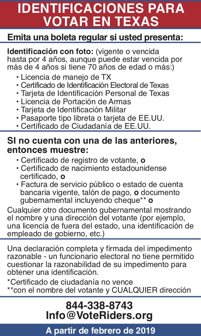 ID para votar en Texas