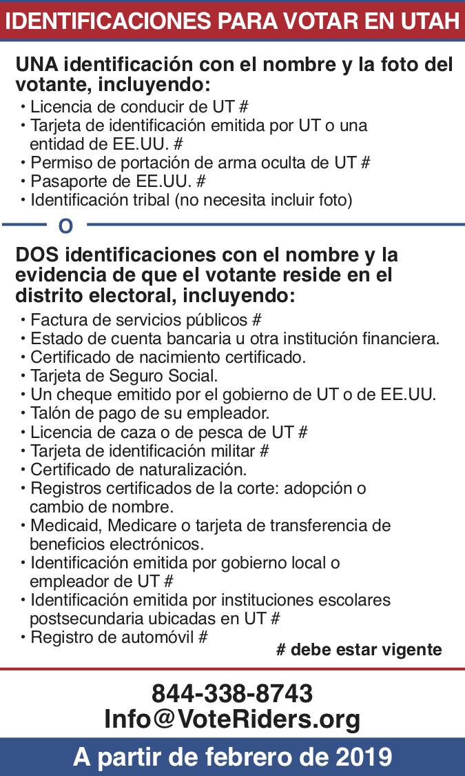 ID para votar en Utah