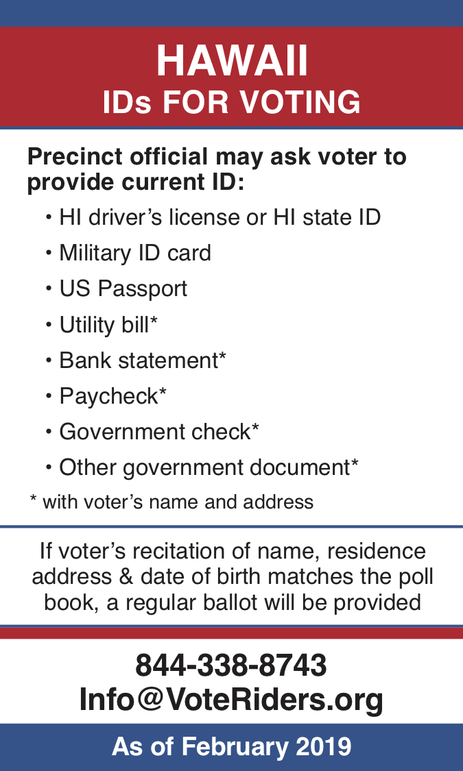 HI Voter ID Info wallet card