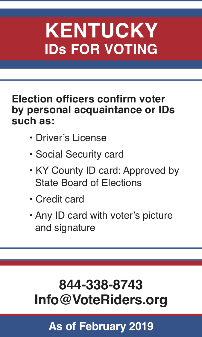 KY Voter ID Info wallet card