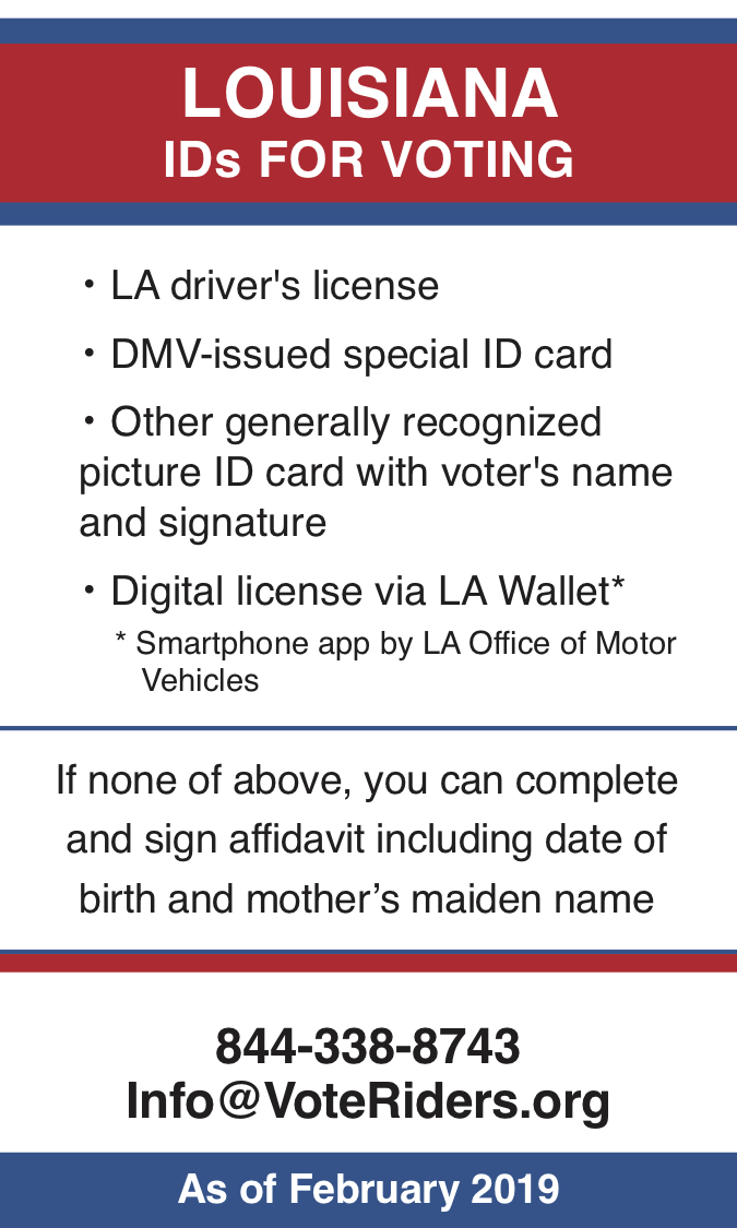 LA Voter ID Info wallet card