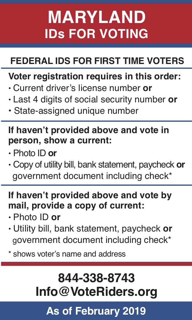 MD Voter ID Info wallet card