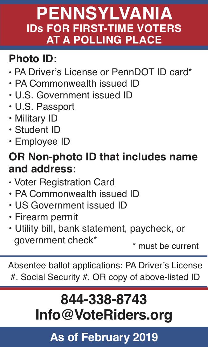 Pennsylvania voter ID info 2019 – image