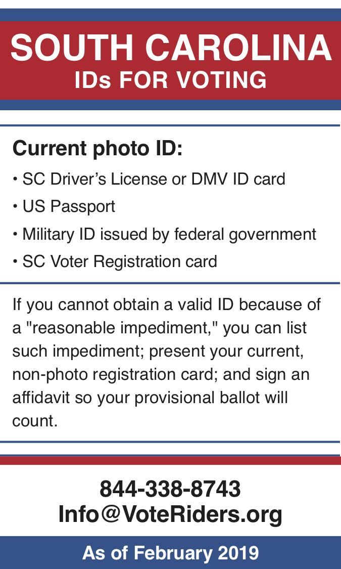 South Carolina voter ID info 2019 - image