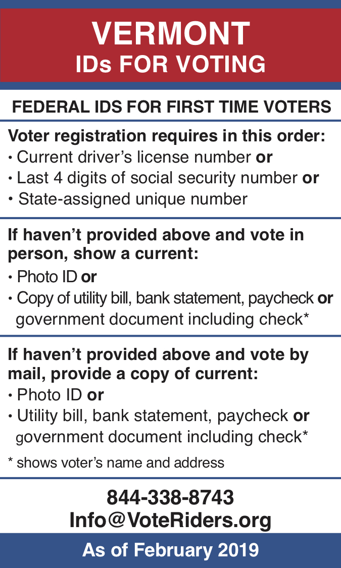 Vermont voter ID info 2019 - PDF