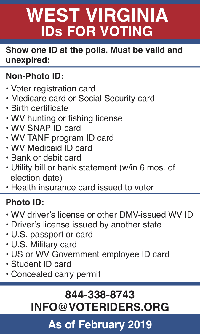 Pocket guide to West Virginia voter ID rules by VoteRiders