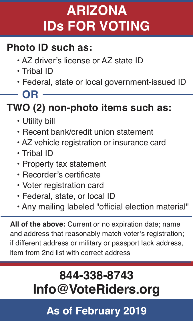 AZ Voter ID Info wallet card