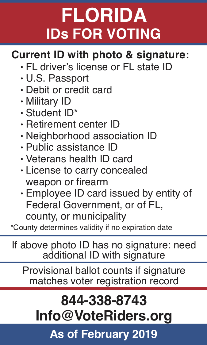 FL Voter ID Info wallet card