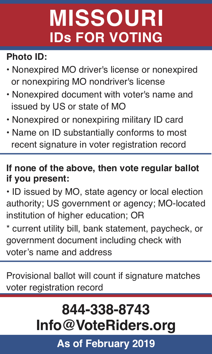 Pocket guide to MO Voter ID
