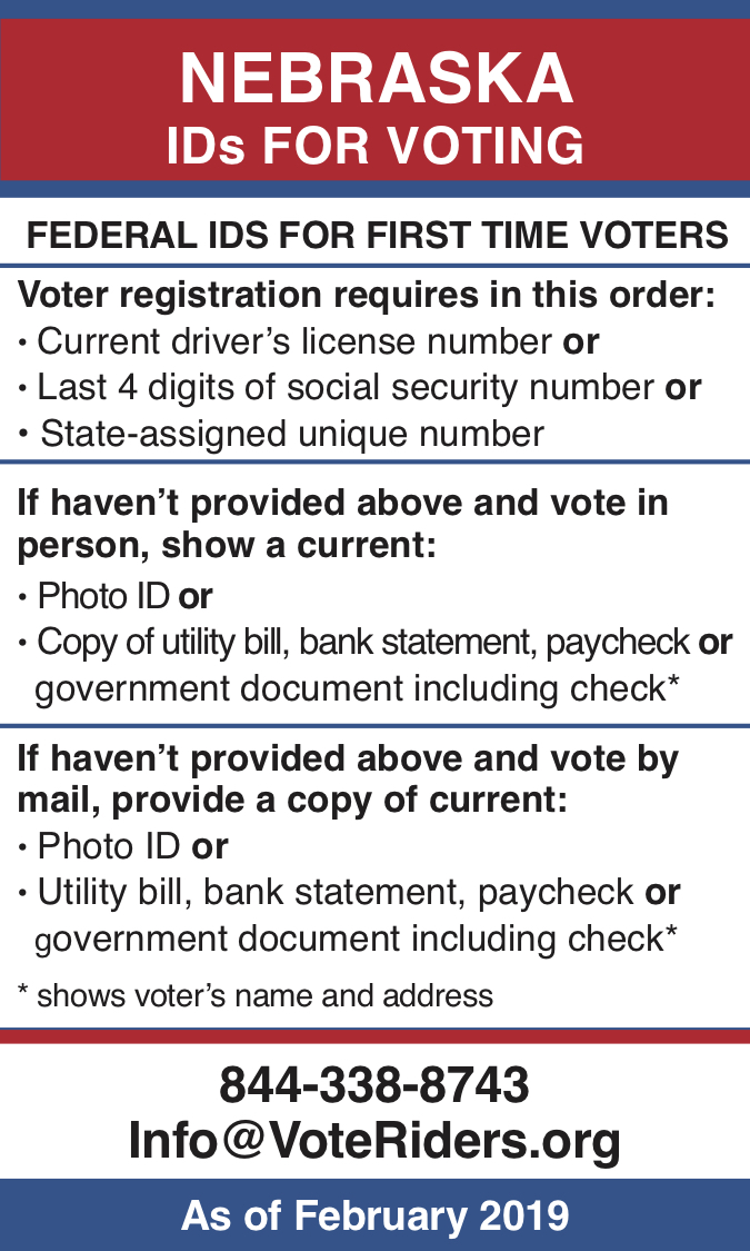 NE Voter ID Info wallet card