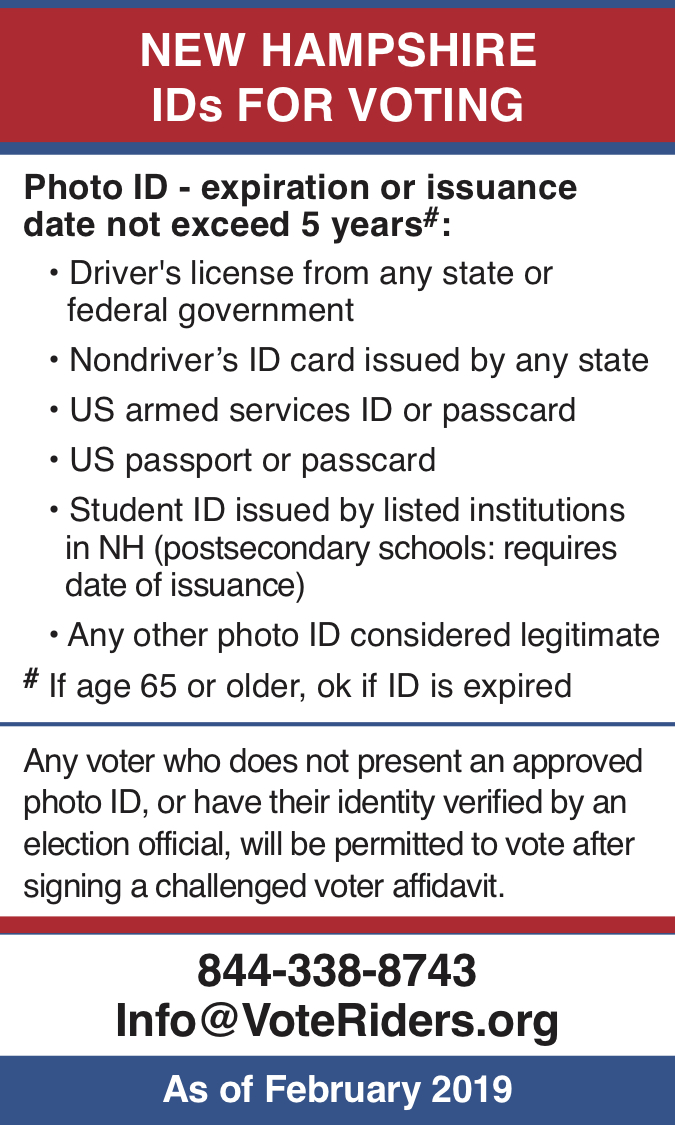 NH Voter ID Info wallet card