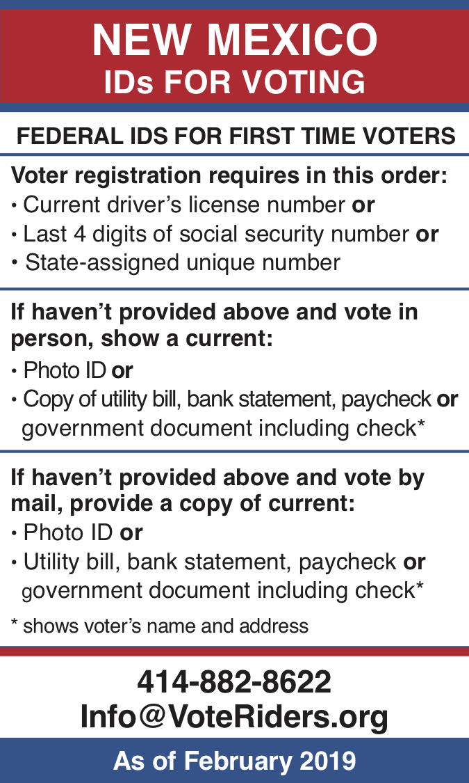 New Mexico voter ID information wallet card