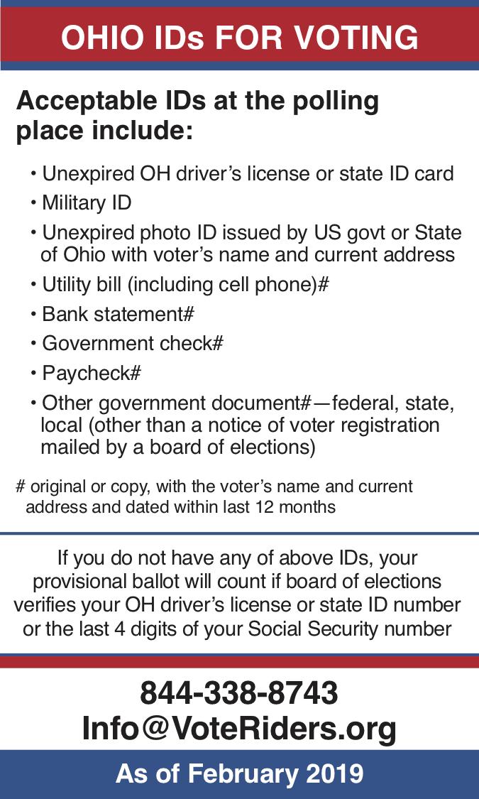 Ohio voter ID info 2019 - image