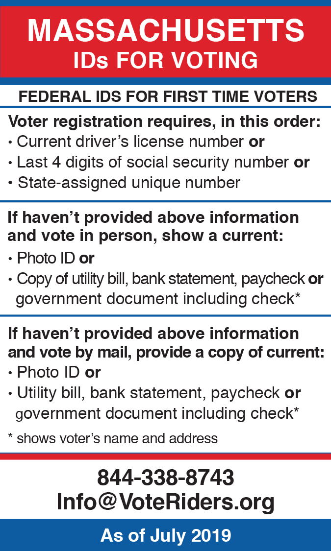 MA Voter ID Info wallet card