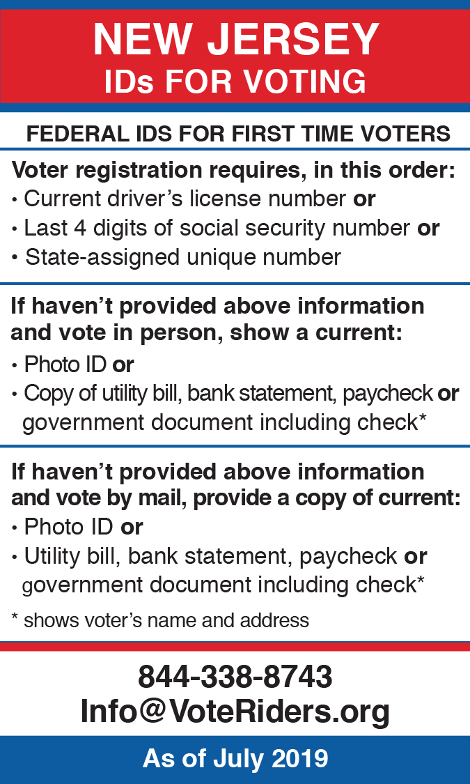 New Jersey voter ID information wallet card