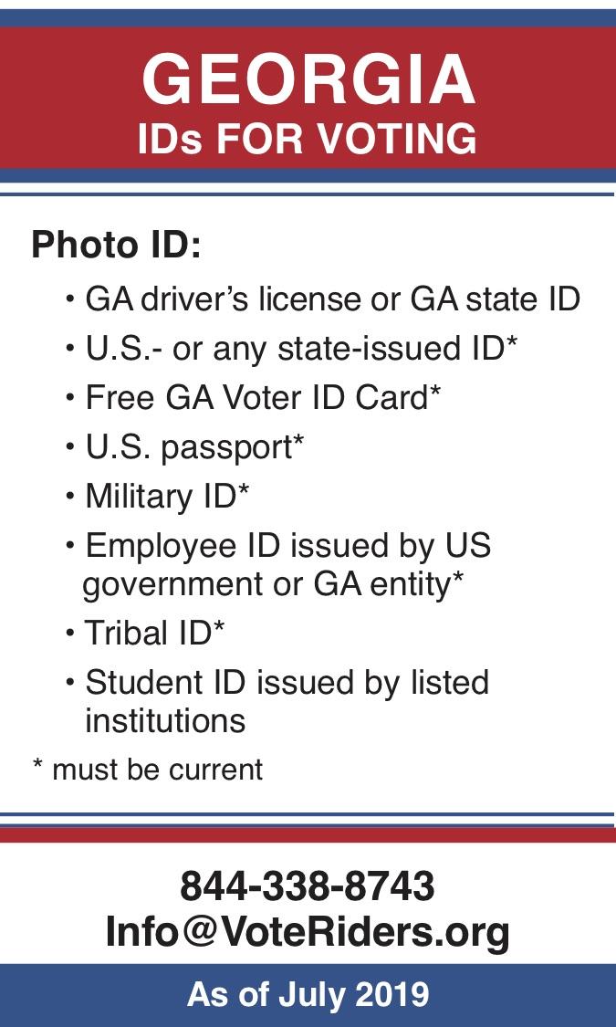 GA Voter ID Info wallet card