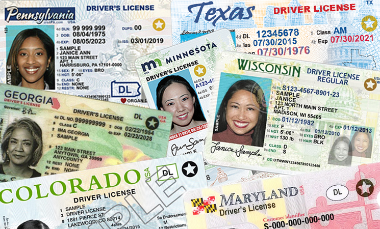 Collage of REAL ID compliant driver's licenses several different states.