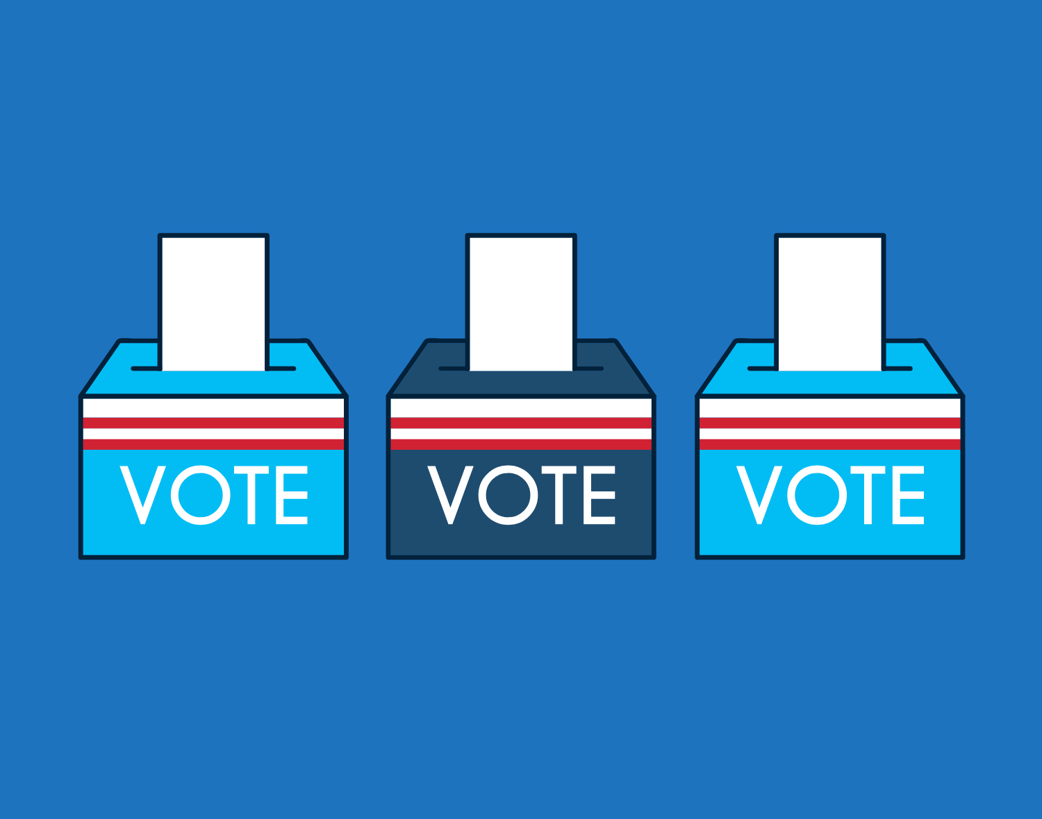 Illustration of three ballot boxes with the word vote written on them.