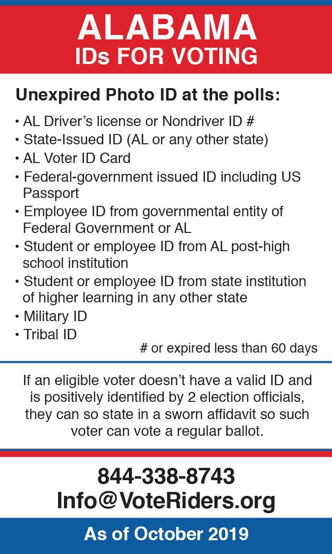 AL Voter ID Info wallet card