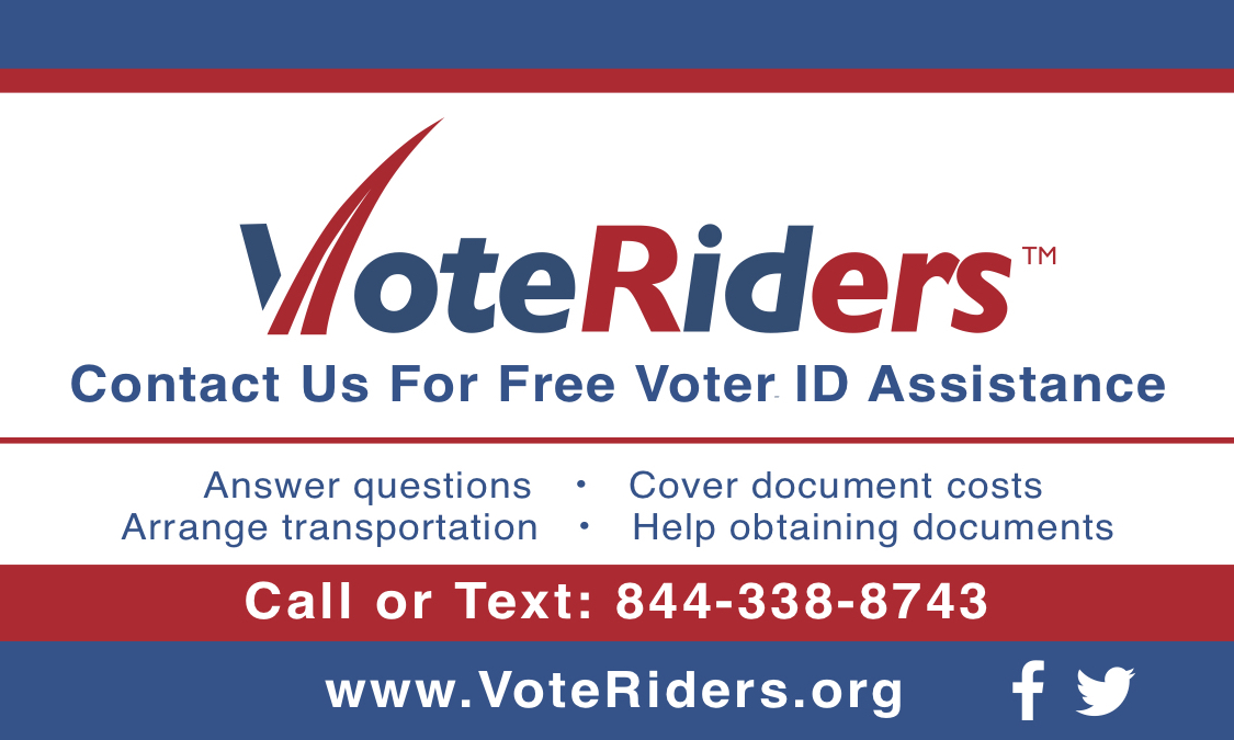 VoteRiders voter ID info card - back - English 2019