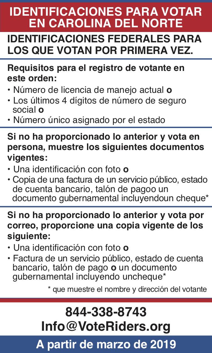 ID para votar en Carolina del Norte