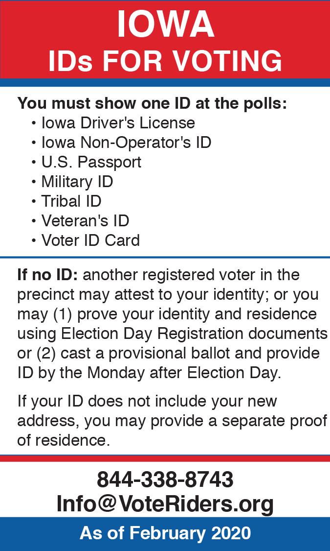 IA Voter ID Info wallet card