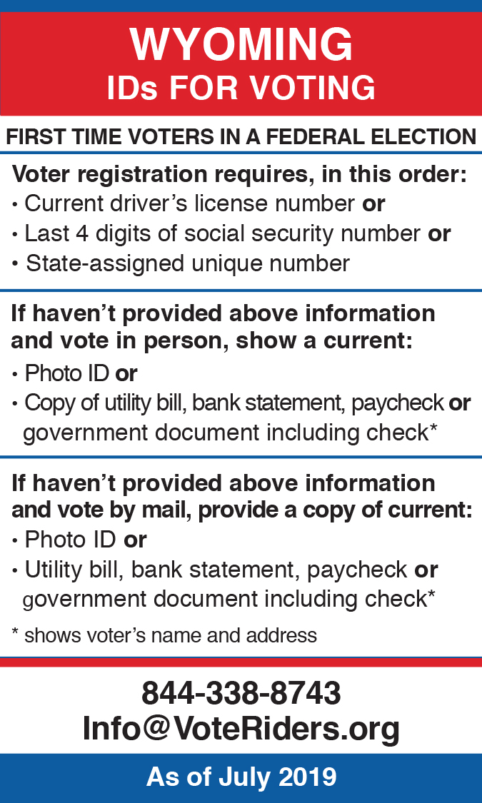 Wyoming voter ID info wallet card