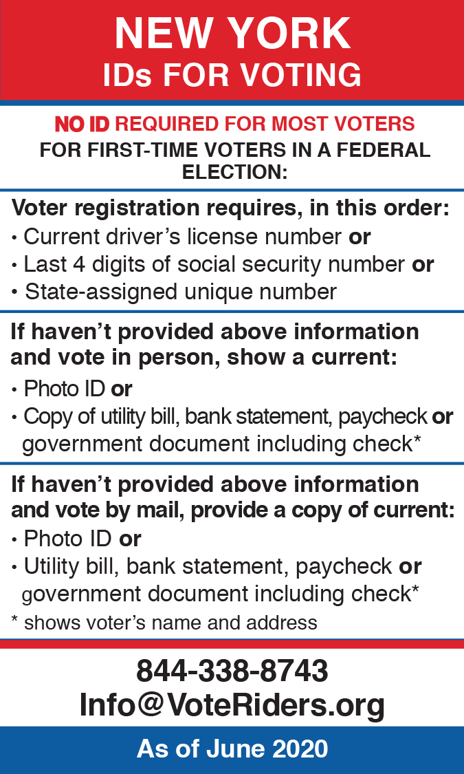 New York Voter ID Information Wallet Card
