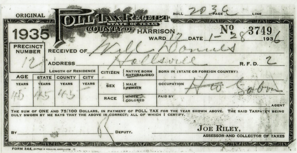 Image: 1936 Poll Tax Receipt
